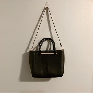 Topshop Halo Bar Handle Black Faux Leather Tote